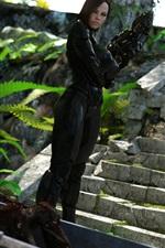 Preview iPhone wallpaper Mass Effect, black armor girl