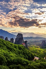 Preview iPhone wallpaper Meteora, Greece, mountains, forest, clouds, sky, dusk