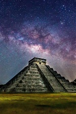 Preview iPhone wallpaper Mexico, Pyramid, night, starry