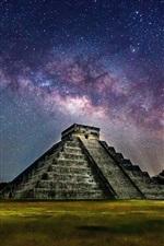 미리보기 iPhone 배경 화면 멕시코, 피라미드, 밤, 별이 빛나는