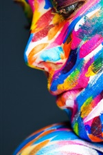 Preview iPhone wallpaper Model girl face, colorful paint, art photography