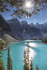 Preview iPhone wallpaper Moraine Lake, trees, mountains, sun rays, Canada