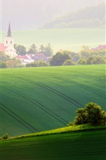 Preview iPhone wallpaper Moravia, fields, trees, spring, chapel, Czech Republic