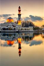 Preview iPhone wallpaper Mosque, minaret, lake, evening, sunset