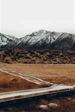 Mountains, grass, path, autumn