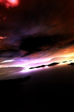 iPhone fondos de pantalla Montañas, lago, islas, nubes, puesta de sol, atardecer