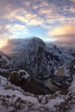 Preview iPhone wallpaper Mountains, snow, people, river, clouds, morning
