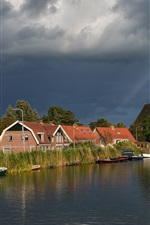 Netherlands, houses, river, boats, reeds