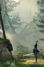 Preview iPhone wallpaper Nier: Automata, forest, sword, robot
