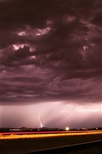 Noite, ferrovia, nuvens, relâmpago, tempestade