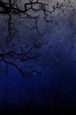 Preview iPhone wallpaper Night, trees, twigs, darkness