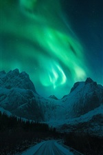Preview iPhone wallpaper Northern lights, snow, mountains, winter, road, night