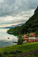 Preview iPhone wallpaper Norway, Hordaland, houses, river, clouds, islands