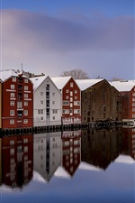 Preview iPhone wallpaper Norway, Trondheim, river, snow, winter, houses, colorful