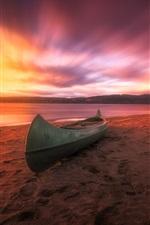 Norway, sea, boat, beach, sunset