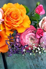 Preview iPhone wallpaper Orange and pink roses, wood board