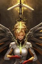 Overwatch, Misericórdia, garota, asas, espada
