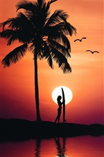 Preview iPhone wallpaper Palm trees, girl, sea, silhouette, summer, sunset