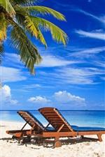 Preview iPhone wallpaper Palm trees, paradise, beach, deck chair, sea, summer, tropical