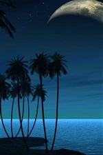 Preview iPhone wallpaper Palm trees, planet, night, creative picture