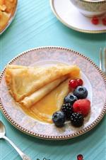 Preview iPhone wallpaper Pancakes, blackberry, currants, tea, breakfast