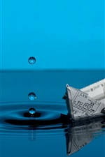 Preview iPhone wallpaper Paper boat, blue water, drops