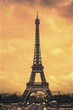 Preview iPhone wallpaper Paris, Eiffel Tower, city, clouds, dusk