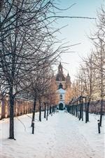 Preview iPhone wallpaper Pazaislis Monastery, Kaunas, Lithuania, trees, snow, winter, sun rays