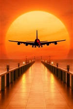 Preview iPhone wallpaper Pier, sea, airplane takeoff, sunset