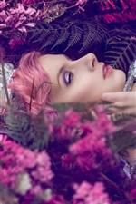 iPhone обои Девушка с розовыми волосами, цветы, блеск