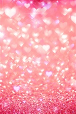 Preview iPhone wallpaper Pink love heart, shine, glitter