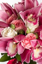 Preview iPhone wallpaper Pink orchids and roses, bouquet