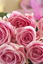 Preview iPhone wallpaper Pink roses, bouquet, flowers, romantic