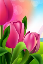 Preview iPhone wallpaper Pink tulips, rainbow, colors, path, art picture