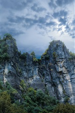 Preview iPhone wallpaper Piopio, New Zealand, nature, mountains, rocks, clouds