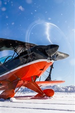 Preview iPhone wallpaper Plane, biplane, propeller, winter, snow