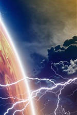Preview iPhone wallpaper Planet, clouds, lightning