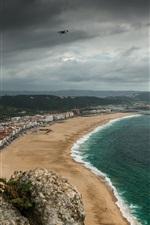 Preview iPhone wallpaper Portugal, promenade, sea, city, beach