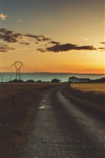 Preview iPhone wallpaper Power lines, road, fields, houses, clouds, sunset