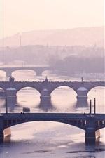 Prague, Czech Republic, Vltava, river, bridges, city, fog, morning