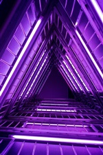 Preview iPhone wallpaper Purple neon lights, ladder