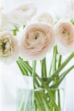 Preview iPhone wallpaper Ranunculus flowers, vase, bokeh