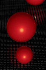 Preview iPhone wallpaper Red 3D balls, surface