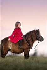 Preview iPhone wallpaper Red coat little girl, riding a pony