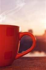 Preview iPhone wallpaper Red cup, drink, steam, sunset