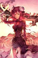 Garota de fantasia de cabelo vermelho, saia, dragão, nuvens