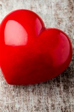 Coração vermelho amor, mesa de madeira
