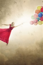 Preview iPhone wallpaper Red skirt girl flying with colorful balloons