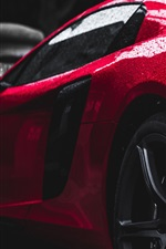 Preview iPhone wallpaper Red supercar rear view, water drops, after rain