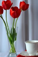 iPhone fondos de pantalla Tulipanes rojos, té, taza